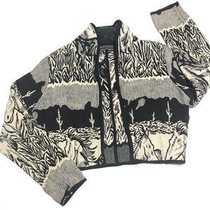 VINTAGE Southwestern Cropped Horse Tapestry Jacket